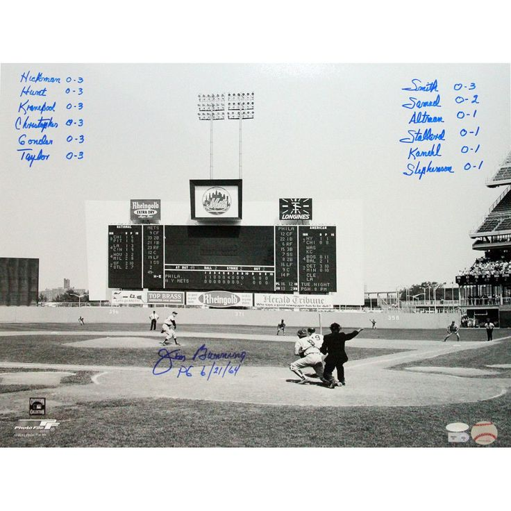 Jim Bunning Perfect Game Box Score 16x20 w 12 Inscriptions - Jim Bunning Steiner & MLB Authenticated Autographed 16x20 Photo-Phillies Legend Jim Bunning has personally hand-signed this 16x20 Photo and inscribed it with the box score from his 1964 Perfect Game. Over a 17-year period in the MLB Bunning pitched with the Detroit Tigers and the Philadelphia Phillies. At the point of his retirement he had the second-highest career strikeout total in Major League history. Bunning pitched the…