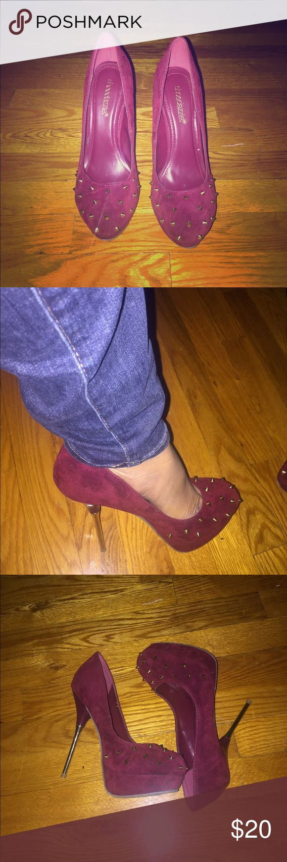 Shoe Dazzle red pumps 👠 4 1/2 inch heel. Suede material with gold studs. Never worn. Size 8 Shoe Dazzle Shoes Heels