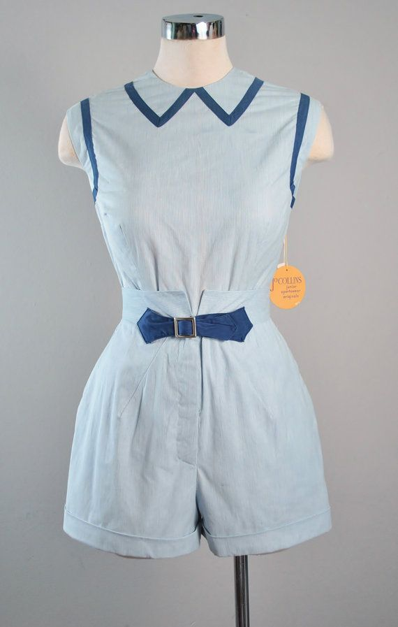 Vintage 1950s Nautical TOP High Waist SHORTS by GeronimoVintage