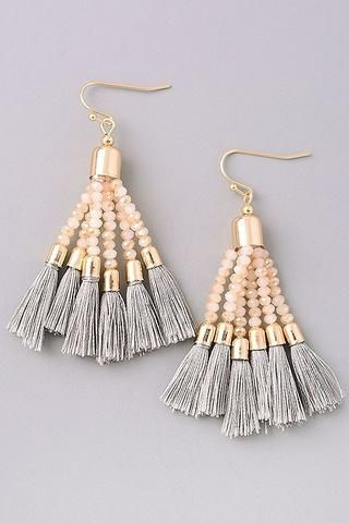 Montego Bay-Grey. Beaded tassel earrings.