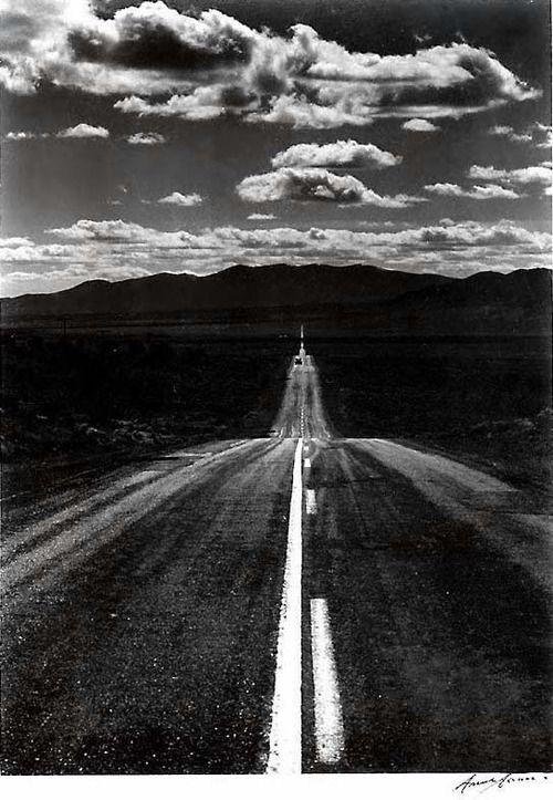 Ansel Adams - Road Nevada Desert, 1960.
