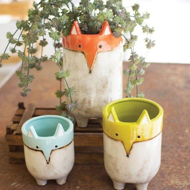 Set Of 3 Ceramic Fox Planters Planter Pots Ceramic Pot Ceramic Planters