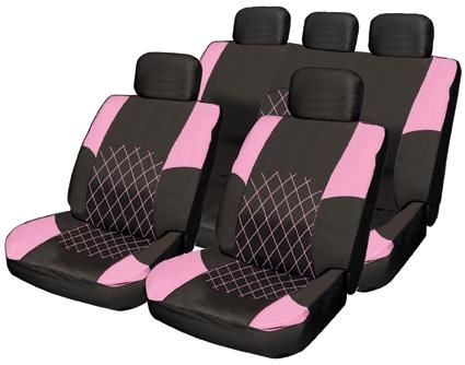 pink car seat covers sets | Car Seat Cover Set - Black Pink Leather Look Inserts - Split Rear Seat ...