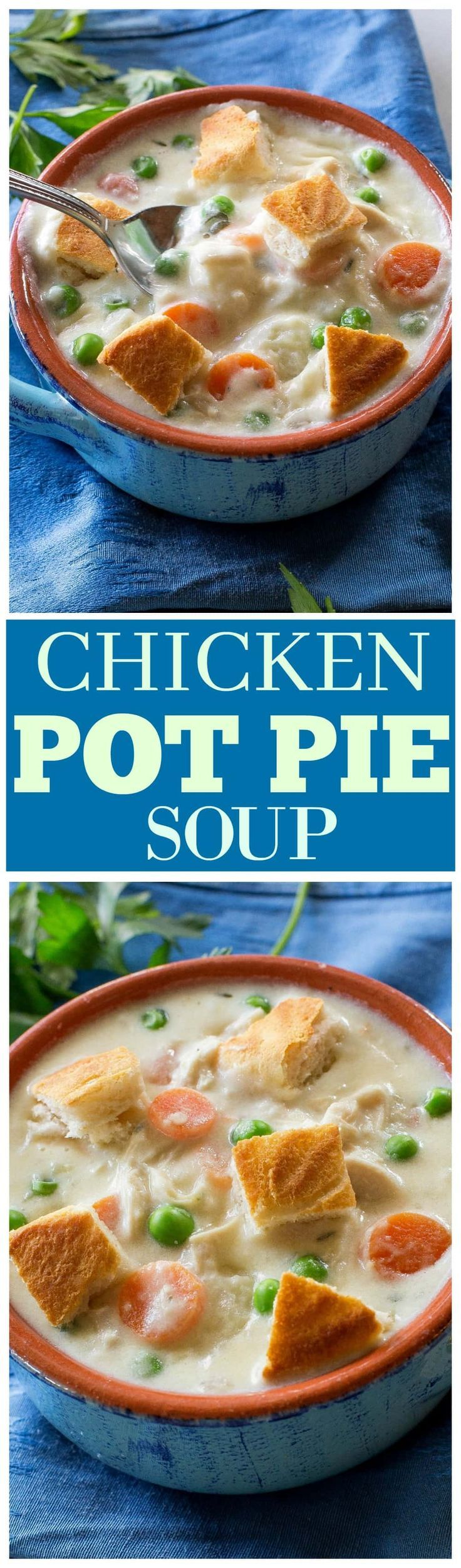 Chicken Pot Pie Soup - creamy pot pie soup with carrots, peas and potatoes. Seasoned to perfection! the-girl-who-ate-everything.com