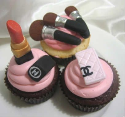 Caroline's favorite.: Coco Chanel, Idea, Fashion Cupcakes, Girls Night, Cups Cakes, Cocochanel, Cupcakes Rosa-Choqu, Makeup Cupcakes, Chanel Cupcakes