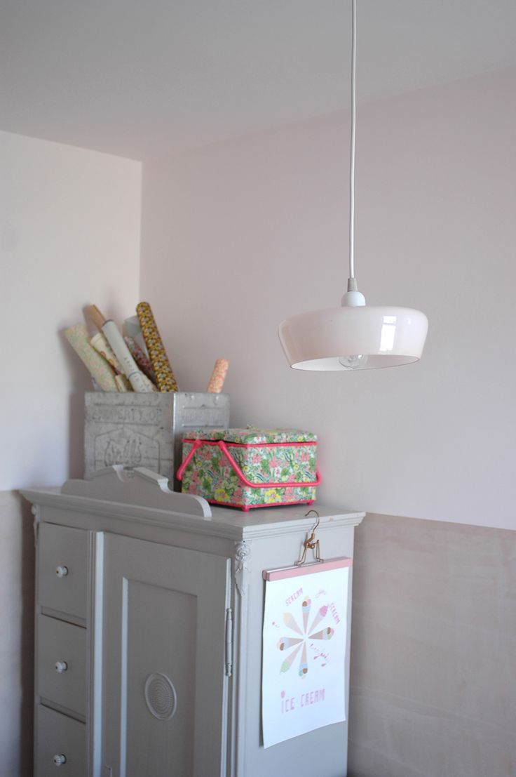 Home office- craft supplies storage. Vintage pendant light: V Interior / Vintage cupboard: Goose Home & Garden