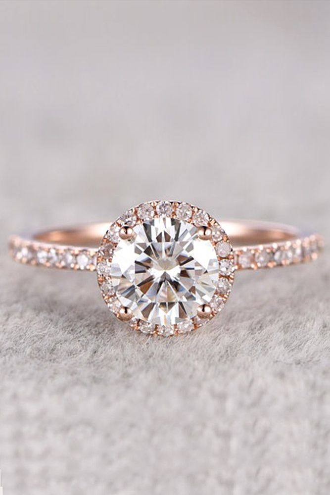 Sparkle Like A Diamond: 18 Moissanite Engagement Rings ❤ See more: http://www.weddingforward.com/moissanite-engagement-rings/ #weddings