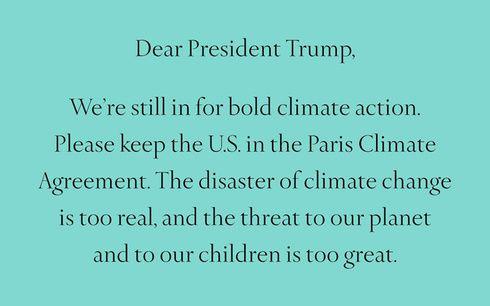 「ティファニー」がドナルド・トランプ大統領にパリ協定残留を訴える