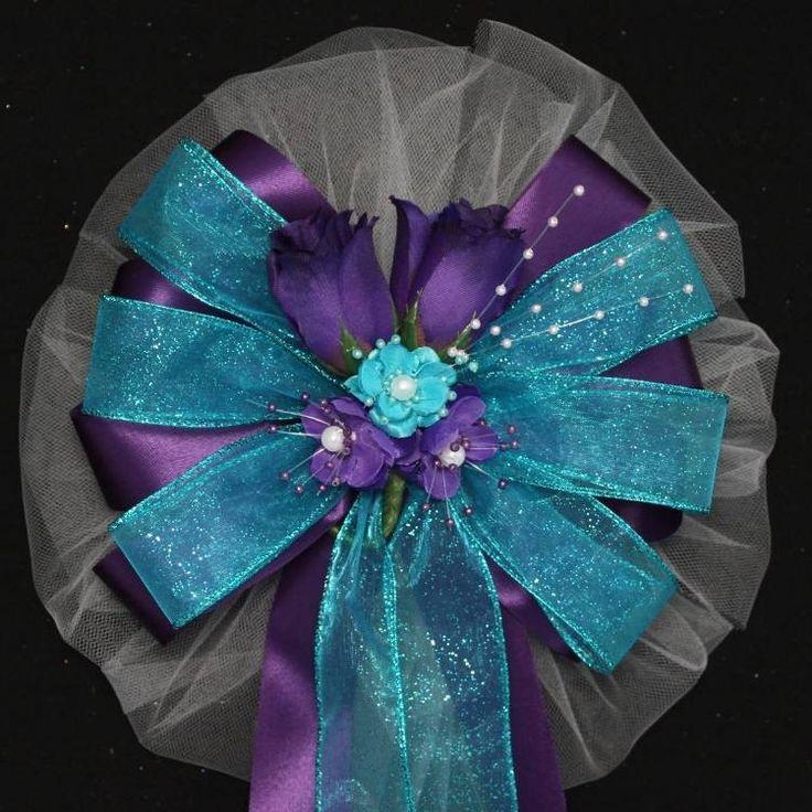 Purple Rosebuds Turquoise Sparkle Wedding Bows