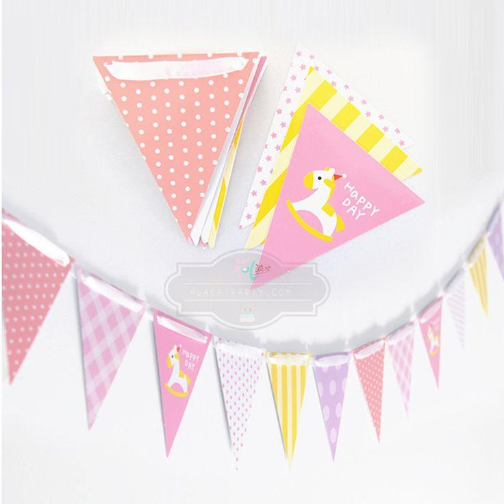 Розовый троян флаги бумаги овсянка вымпел ну вечеринку украшение баннер украшения дома ну вечеринку поставки события душа ребенка купить на AliExpress