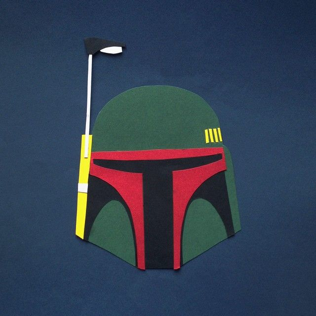 May the 4th be with you. Papercut Boba Fett helmet by Hannah Miles #MayThe4thBeWithYou #starwars #Papercut