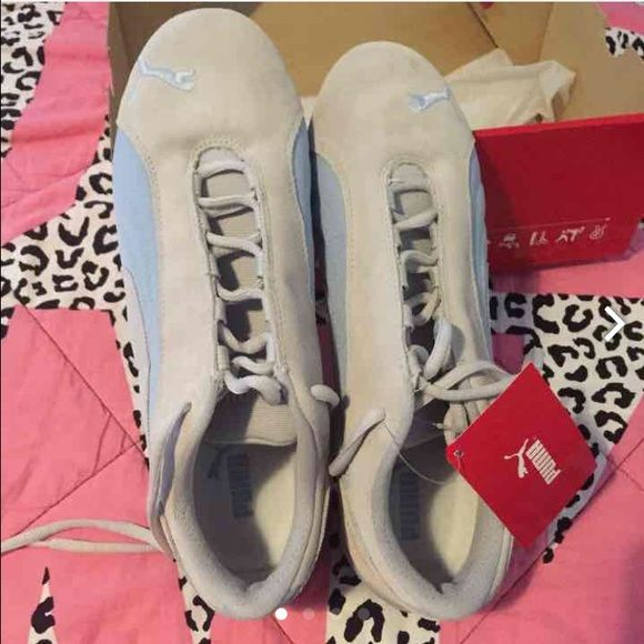 Puma tennis shoes! Gray beige suede, baby blue material shoes. Women's 10 NEW IN BOX!! Puma Shoes Athletic Shoes
