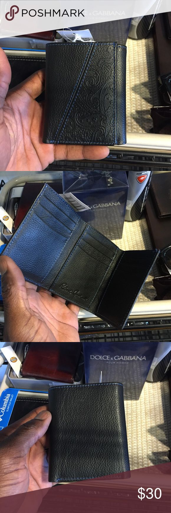 """New Robert Graham Leather Trifold Black Wallet Actual wallet in my men's accessories store in Las Vegas. Store pickup available.  3 1/4"""" L x 4"""" L x 3/4"""" W Tri-fold construction, leather exterior, paisley embossed detail, black. Robert Graham Bags Wallets"""