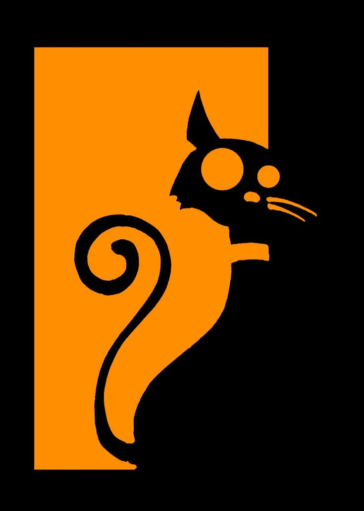 It's a cat. by lifeisunderrated.deviantart.com color block art of black cat silhouette on orange