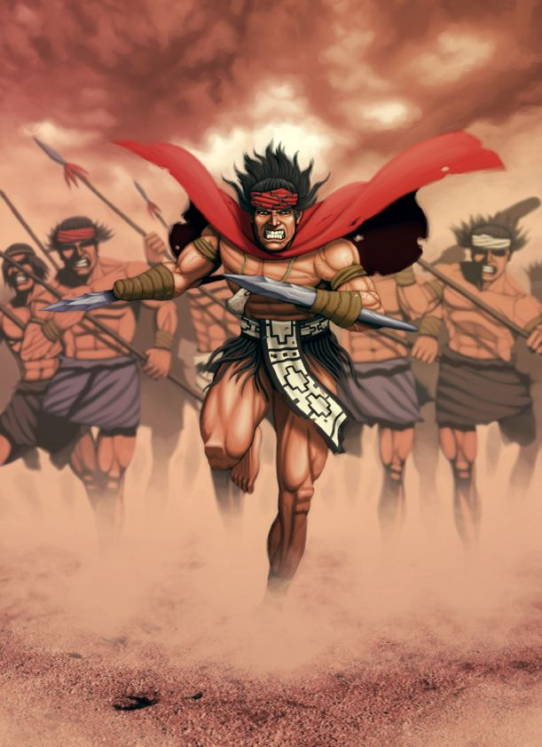 Galvarino was a Mapuche warrior who had both his hands chopped off by Spaniards.   Upon returning to his tribe he raised a large army and fought in the first line with blades strapped to his mutilated joints.
