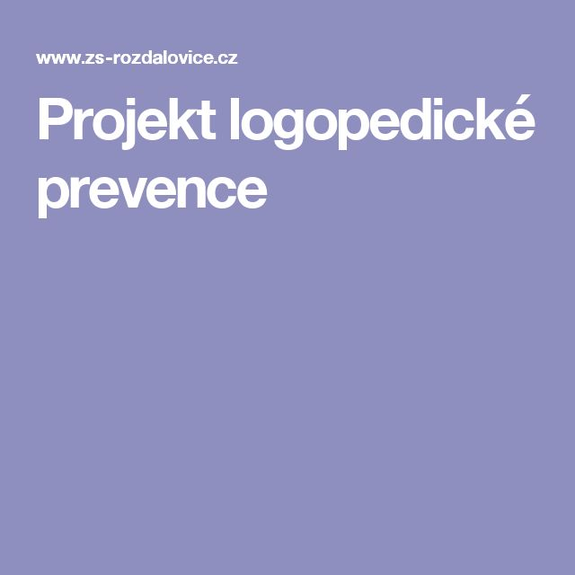 Projekt logopedické prevence