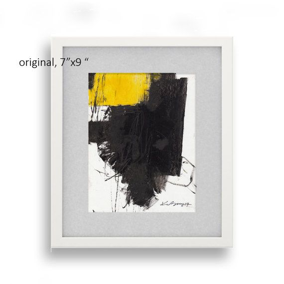 Yellow Abstract Painting Small Black Yellow Abstract by kuzennyArt