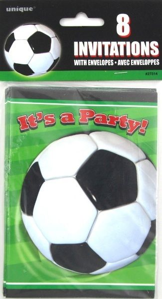 Soccer Football Sports Green Black White Party Invitations - 8 Pack