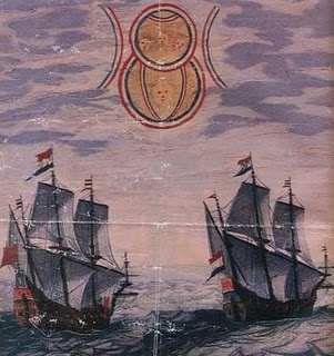 """1660. The illustration depicts a sighting by two Dutch ships in the North Sea of an object moving slowly in the sky. It appeared to be made by two disks of different size. The source for this account is one of the books entitled :""""Theatrum Orbis Terrarum"""" by Admiral Blaeu. These books were compilations of articles by different authors and consisted of detailed accounts of long engagements at sea, cartography information etc."""