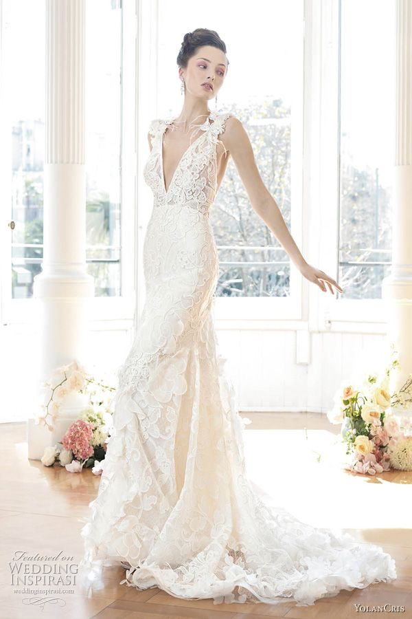 yolan cris wedding dresses - @Melanie Lorenz Dan would hate this (lace) but I just love how it drapes :)