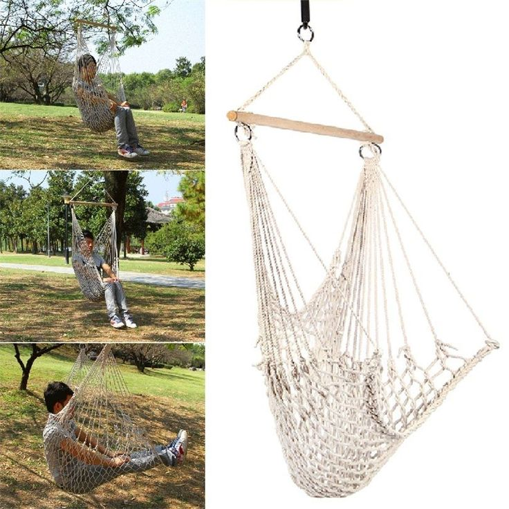 kids hanging chair for bedroom%0A Kids Adults Cotton Rope Net Outdoor Swing Seat Hanging Patio Garden Chair WS