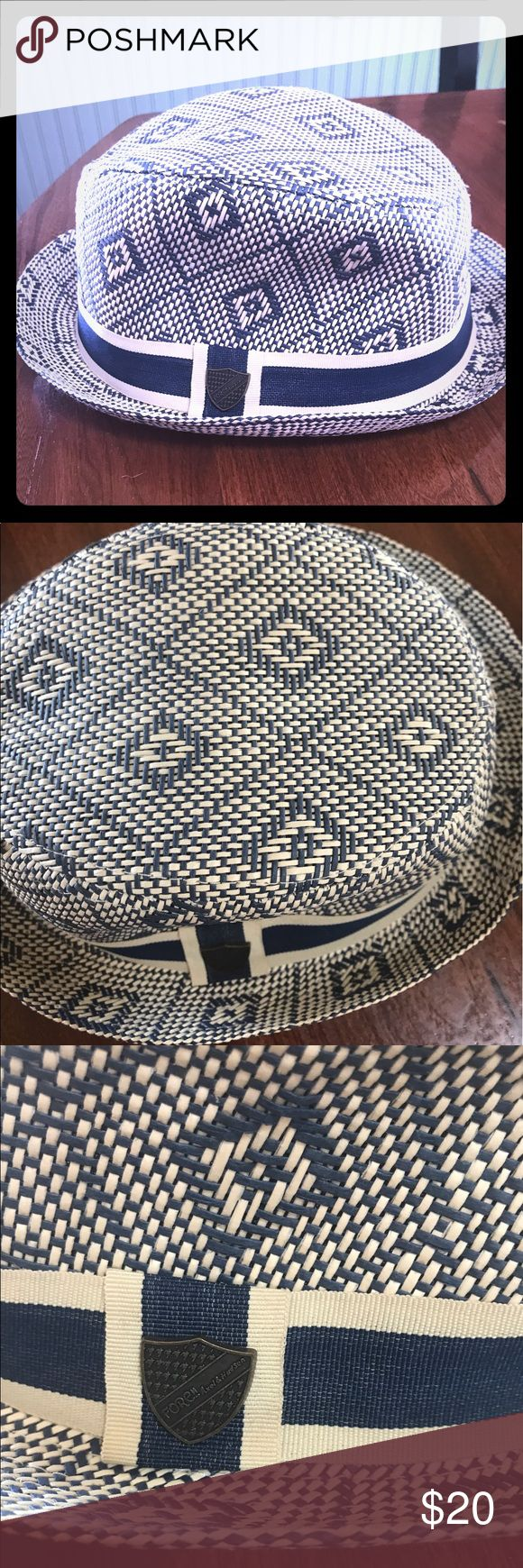 Fore! Axel & Hudson Navy Straw Fedora SZ M/ L 4-6 Fore! Axel & Fore Navy Straw Fedora Size M/L - New without tags . Excellent Quality ! So Much Detail . This is a very high end clothing line . This hat makes a statement !! Too Cute ! Fore! Axel & Hudson Accessories Hats