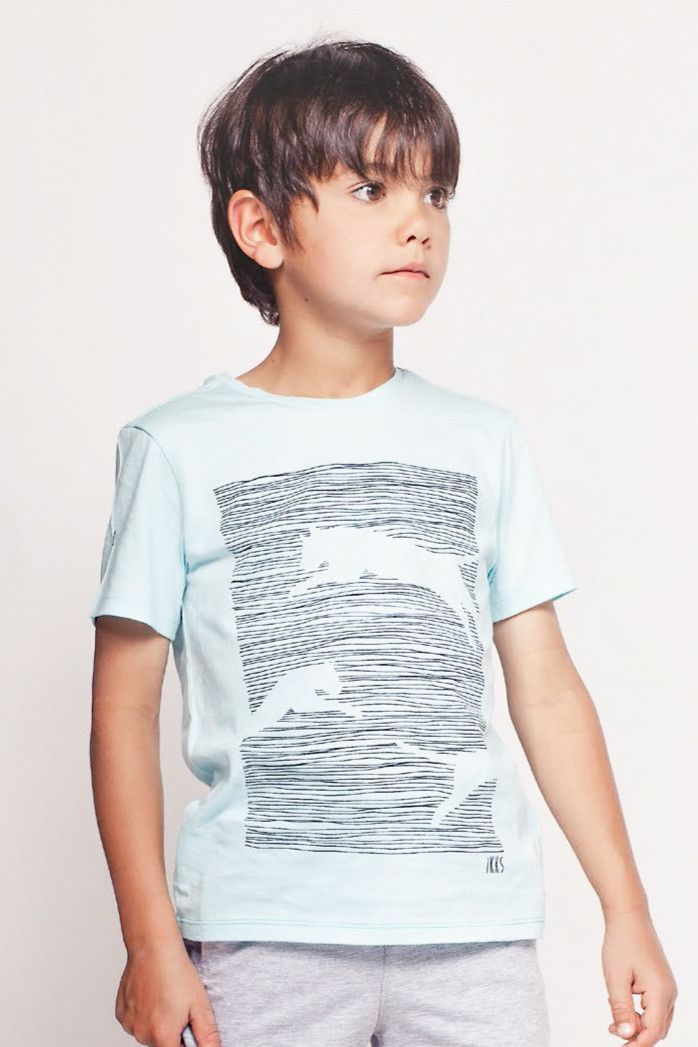 100% cotton boys t-shirt by IKKS completes any outfit. Featuring a cheetah graphic print on the front.
