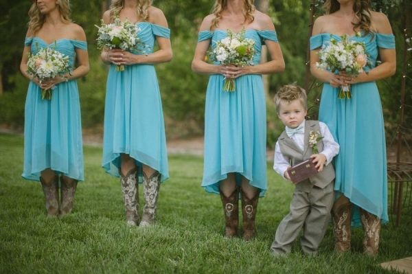 bridesmaid dresses with cowboy boots! bah i love it