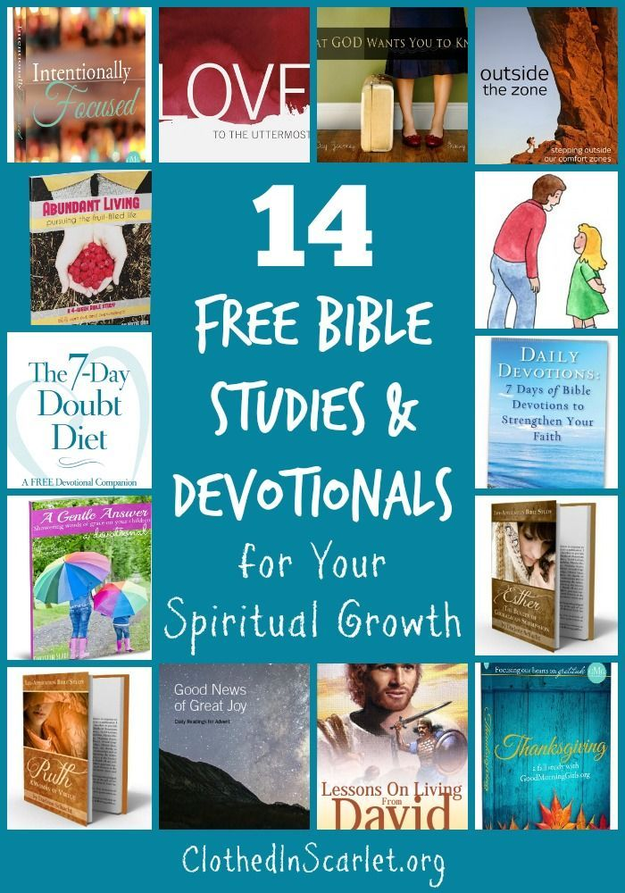 I love bible studies and devotionals. They have helped me study the Bible in a more systematic way. Here are 14 Free Bible Studies and Devotionals to help you grow spiritually! www.clothedinscarlet.org/free-bible-studies-devotionals-spiritual-growth/