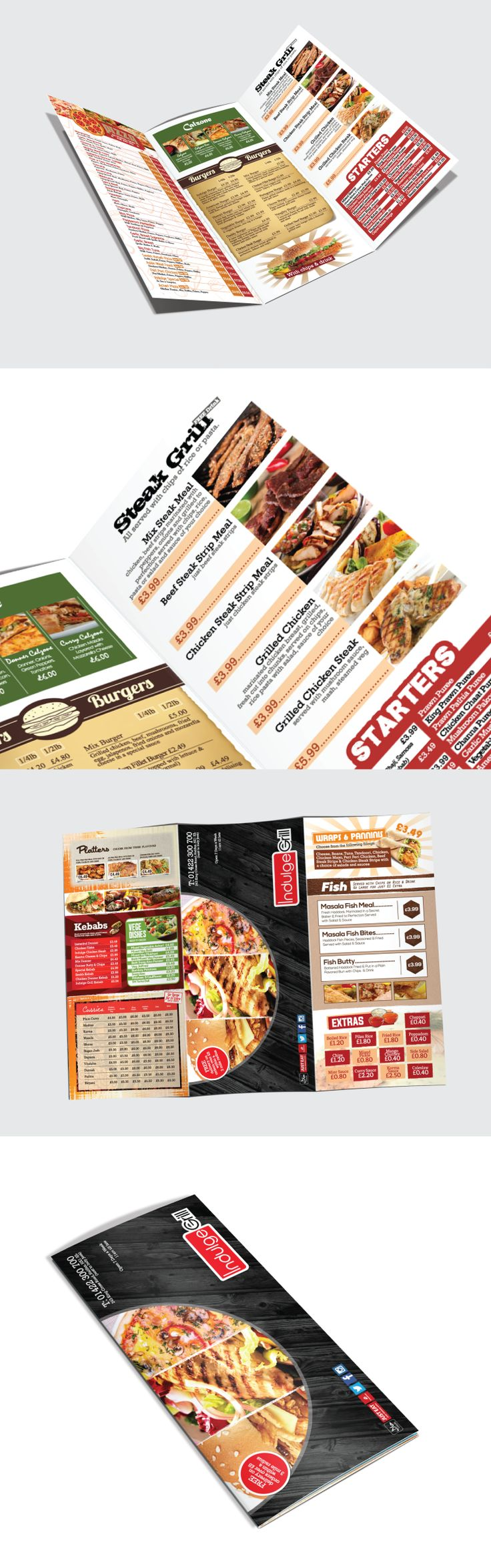 Indulge Grill is a takeaway restaurant in the UK that does it all: pizzas, steaks, curries, burgers...you name it.  #Branding #Menu #Food #Graphic Design #Printing #Logo #Takeaway #Fast Food