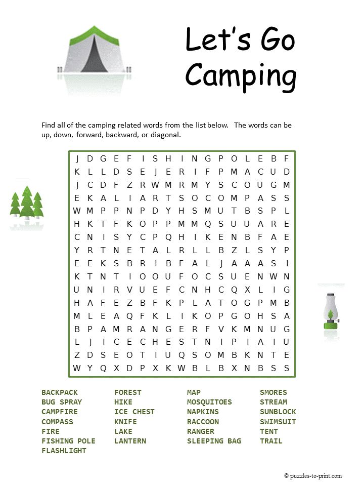 Camping Word Search http://www.puzzles-to-print.com/printable-word-search/camping-word-search.shtml  Taking a camping trip with the family?  Maybe an electronic free camping trip?  This puzzle may be just the thing to have on hand for quiet entertainment.