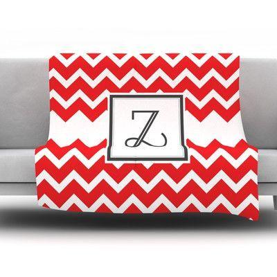 "KESS InHouse Monogram Chevron Red Throw Blanket Size: 40"" L x 30"" W, Letter: Z"