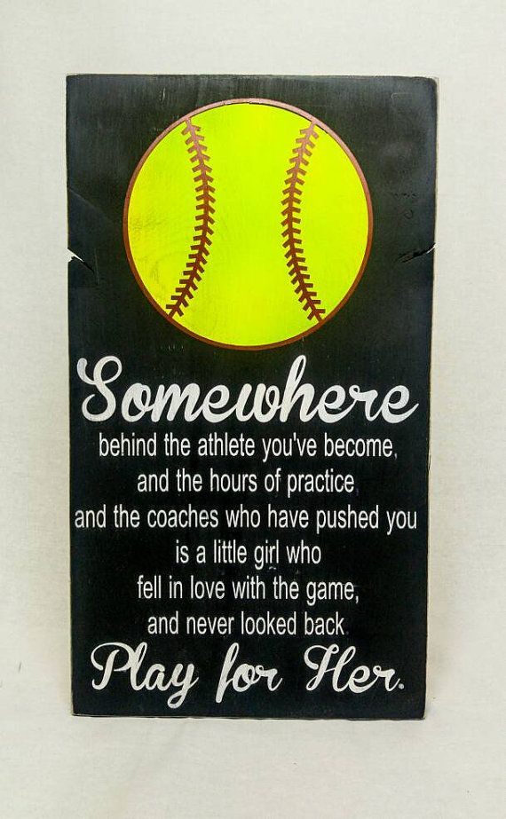 Remind her who she plays for with this adorable Mia Hamm quote softball sign. Heavily distressed and made from reclaimed wood, this sign measures approximately 12x20 and includes a sawtooth hanger for hanging. Also available in Baseball - https://www.etsy.com/listing/276541422