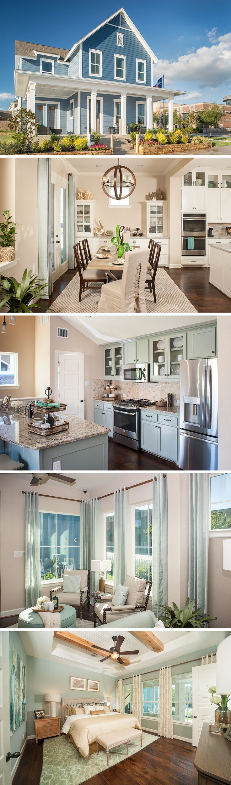 .The  Eastmoreland by David Weekley Homes in Hometown Cottage is a 4 to 5 bedroom home that features a large open kitchen and family room, a 3 car garage and a large owners retreat. Custom home options include a fireplace in the family room, a sunroom and a larger shower in the owners retreat.