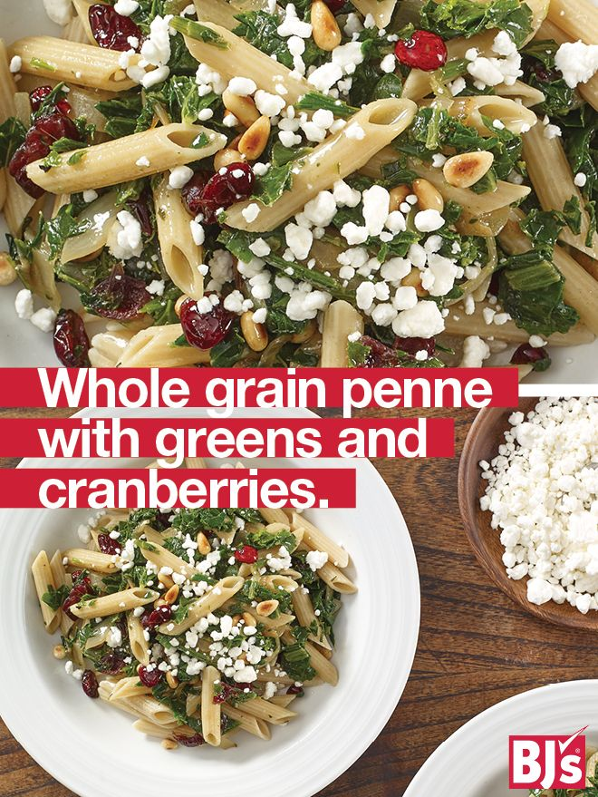 Penne with Greens and Cranberries - This meatless recipe is a delicious way to enjoy nutrient-dense foods like kale and nuts. http://stocked.bjs.com/food/whole-grain-penne-greens-and-cranberries