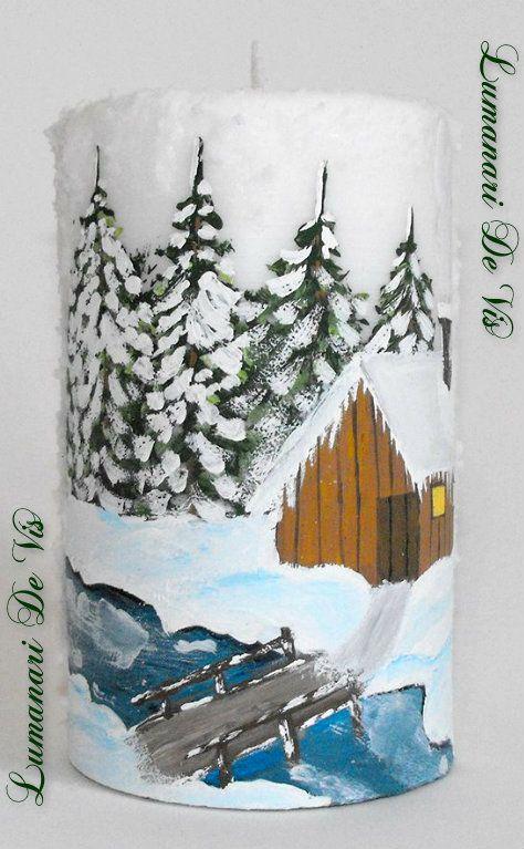 Lumanare Craciun ,,Peisaj iarna ,, pictata manual