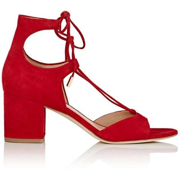 Diane von Furstenberg Women's Priore Suede Lace-Up Sandals found on Polyvore featuring shoes, sandals, red, lace-up sandals, red lace up sandals, red mid heel sandals, block heel sandals and mid-heel sandals