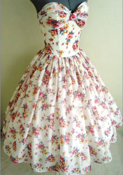 Floral Cotton Tea Length 50s Style Dress Made To Order