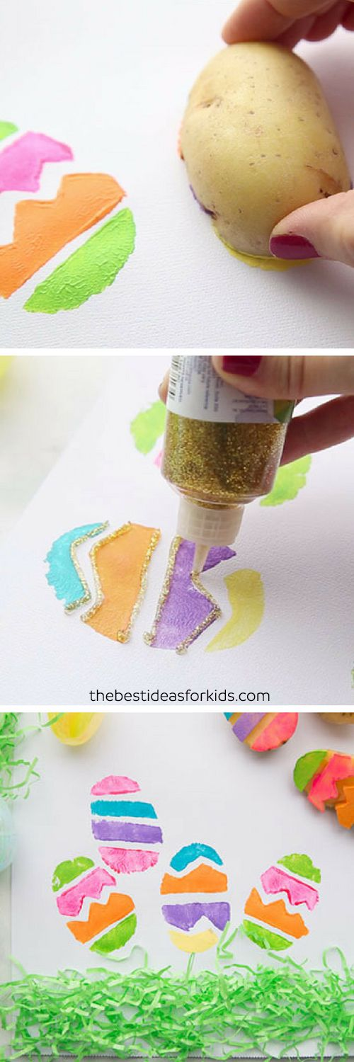 Potato Stamped Easter Eggs - this is such a fun activity for kids for Easter! Make easter egg potato stamps. Easter craft and Easter activity for kids. #easter #eastereggs #kidscraft