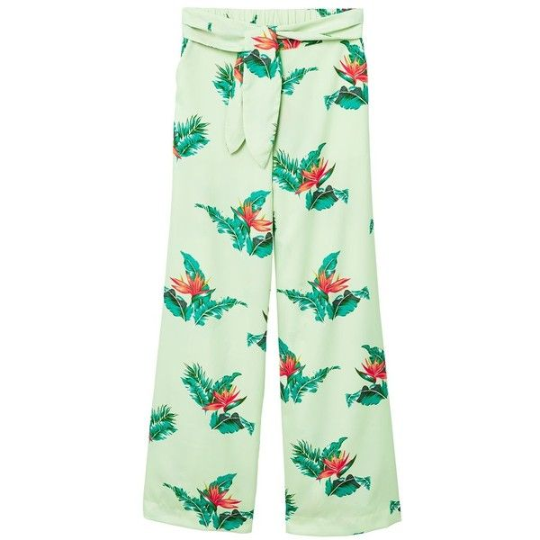 MANGO Bow printed trouser (315 NOK) ❤ liked on Polyvore featuring pants, pastel green, print pants, bow pants, lace print pants, mango trousers and green trousers