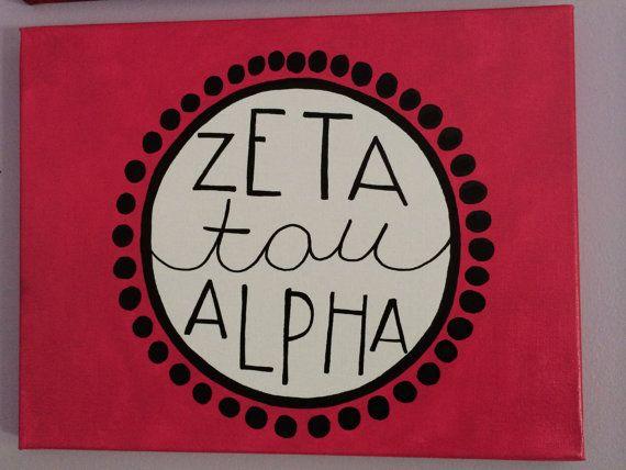 Zeta Tau Alpha ZTA Pink and Black canvas by MerrittsCrafts on Etsy, $20.00