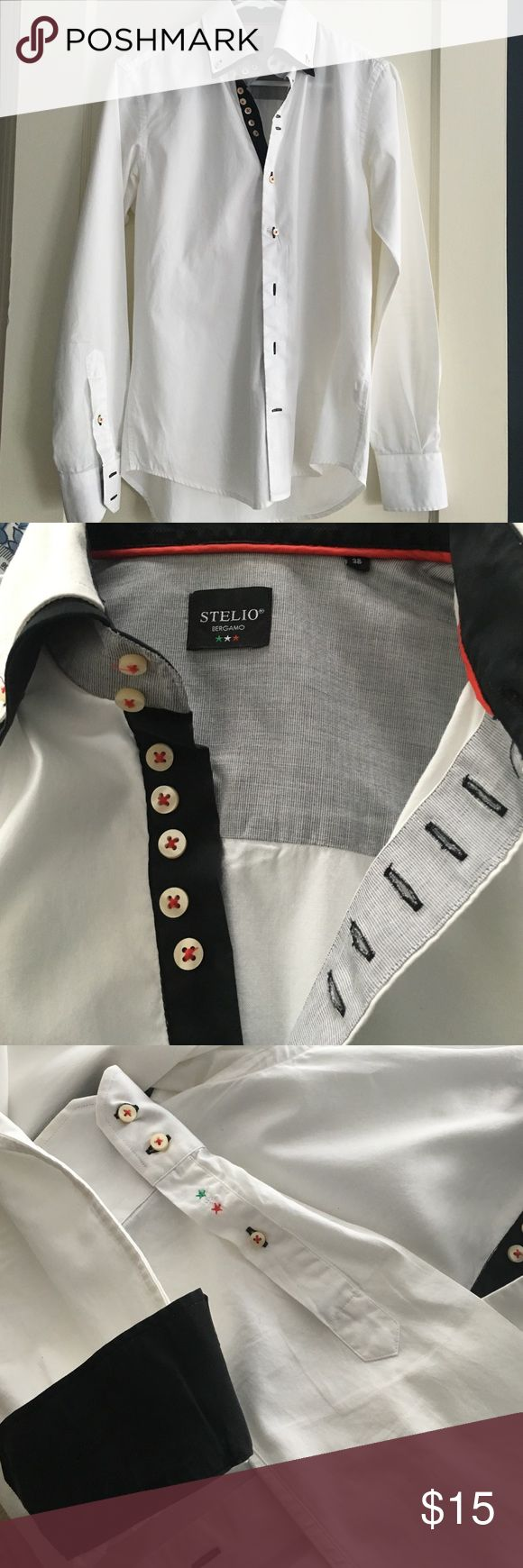 Continental Italian shirt Very unique well made and in great shape. continental shirt from Bergamo Italy near Milan.  Size 38 European. Crisp white cotton with black trim. Extra buttons. Stelio Bergamo Shirts