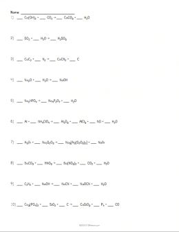 Worksheets Balancing Chemical Equations Worksheet Answer Key H2 O2 1000 images about cool chemistry on pinterest chemical formula balancing equations worksheet example