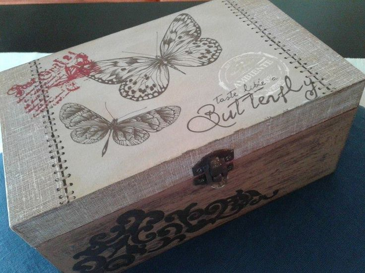 wooden box - home decor - decoupage