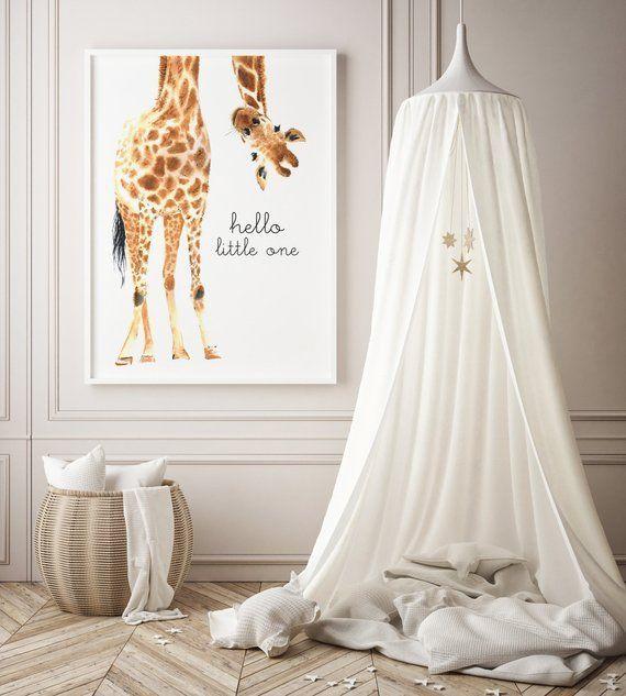 Giraffendruck | Giraffenkunst | Giraffe Animal Kinderzimmer Dekor | Kinderzimmer Wandkunst | Hallo Kleiner! Kindergarten Safari druckt | Geschlechtsneutral
