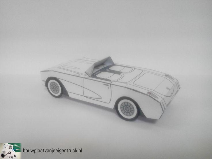 Paper model Corvette '57, found on www.bouwplaatvanjeeigentruck.nl.