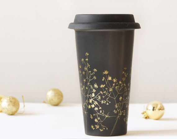 Black Ceramic Eco-Friendly Travel Mug - Gold Babys Breath Collection - Limited Edition - made to order