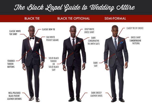 Black lapel attire for weddings