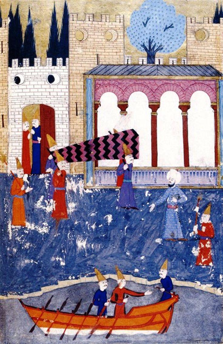 Pargalı (Makbul / Maktul) İbrahim Paşa'nın tabutu, saraydan gizlice çıkartılıp bir kayığa konularak gömüleceği yere götürülüyor.