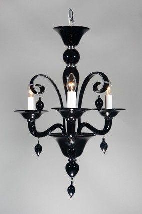 Venetian Glass Classica Black Italian Murano Small Chandelier 3 Lights